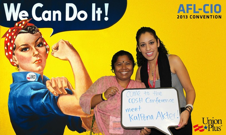 Kalpona Akter and Jessica Martinez promote National COSH conference